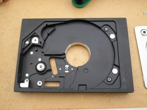Stripped disk drive ready for sawing