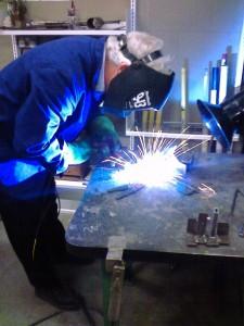 Fellow student welding