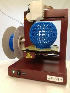 Afinia Printer printing a complex 3D bowl