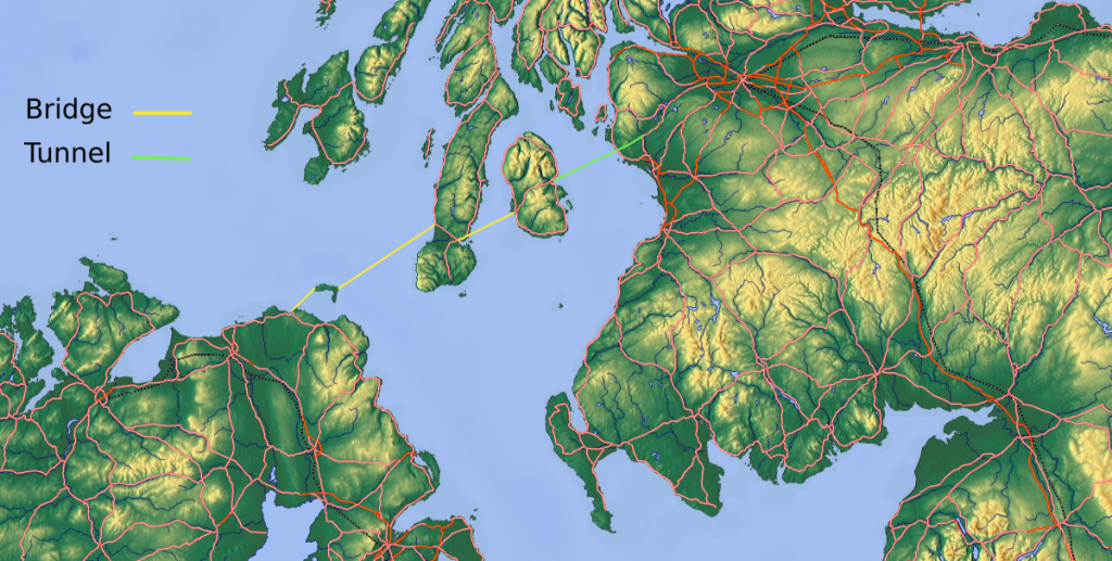 Map of Ireland and Scotland showing the route of the bridge and tunnel