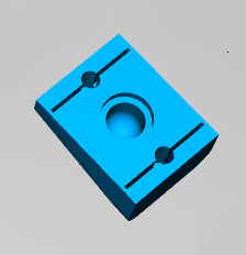 3D model of the light showing slots supporting the screw hole